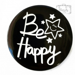 BE HAPPY BUTTON + STAR WHITE WRITING ON BLACK